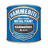 Hammerite Direct to Rust Metal Paint Hammered Black 250ml