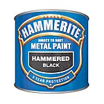 image of Hammerite Direct to Rust Metal Paint Hammered Black 250ml