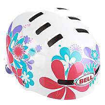 image of Bell Faction Bike Helmet - White and Red Flowers (54-59cm)