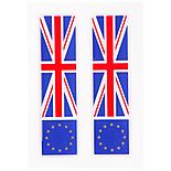 Euro and UK Flag Car Stickers