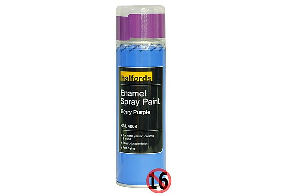 Halfords Enamel Spray Paint Berry Purple 300ml