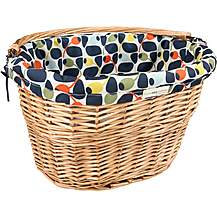 image of Orla Kiely Lined Wicker Bike Basket