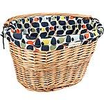 image of Olive and Orange by Orla Kiely Lined Wicker Bike Basket