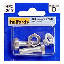 image of Halfords Set Screw & Nuts M8 x 25mm