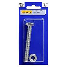 image of Halfords Set Screw and Nut M10 x 80mm