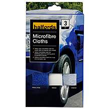 image of Halfords Multi-pack Microfibre Cloths x3