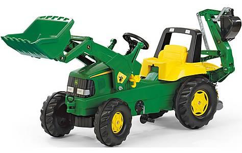 image of John Deere Tractor With Front Loader & Rear Excavator