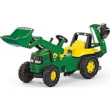 image of John Deere Tractor With Front Loader & Rear Excavator