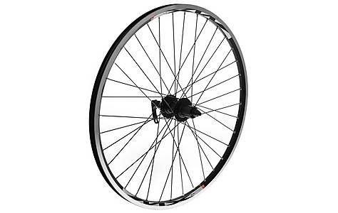 "image of 8-Speed Rear Bike Wheel - 26"" Black Rim"