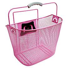 image of Rosa Pink Wire Front Bike Basket with Fitting Kit