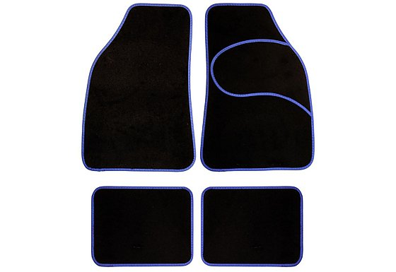 Halfords Carpet Car Mats Blue Trim