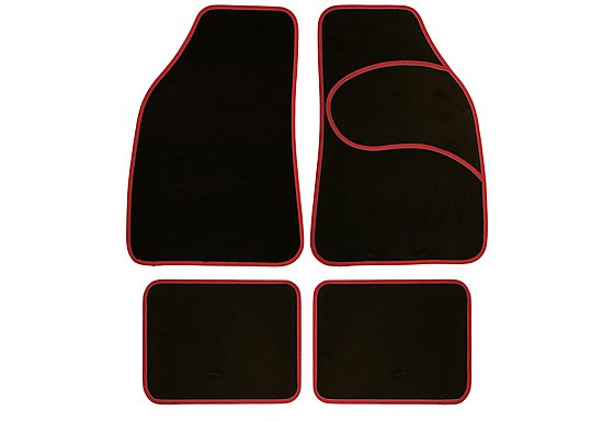 Halfords Carpet Car Mats Red Trim