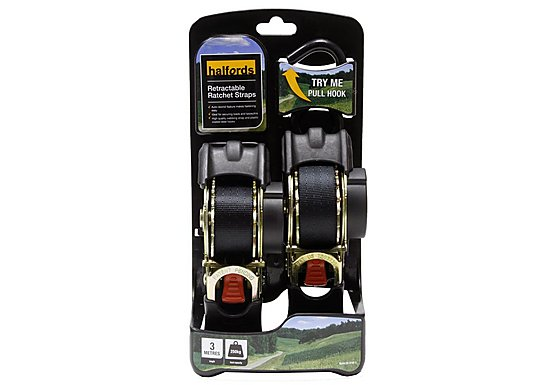 Halfords 3M Retractable Ratchet Straps