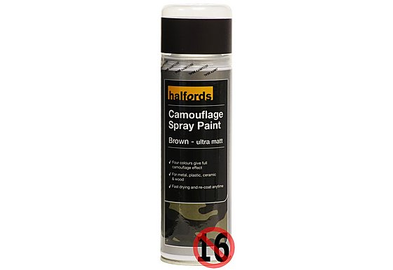 Halfords Camouflage Spray Paint 'Brown' 300ml