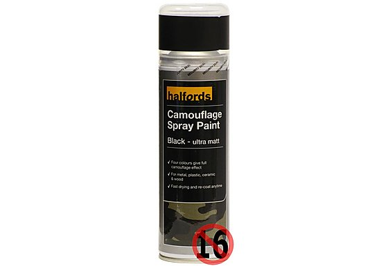 Halfords Camouflage Spray Paint 'Black' 300ml