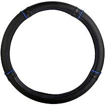 image of Halfords Black Steering Wheel Cover with Blue Edging