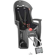 image of Hamax Siesta Rear Child Bike Seat - Grey/Light Grey with lockable bracket