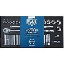 "image of Halfords Advanced Modular Tray Set - 31 Piece Socket Set 3/8"""