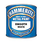 image of Hammerite Direct to Rust Metal Paint Smooth White 250ml
