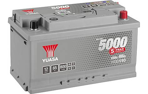 image of Yuasa 12V Silver Car Battery HSB110 - 5 Yr Guarantee
