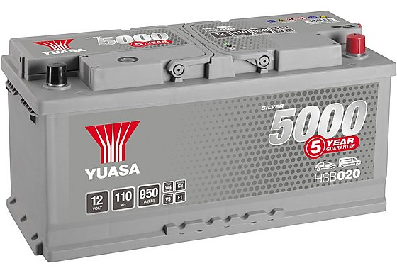 Yuasa 12V Silver Car Battery HSB020 - 5 Yr Guarantee
