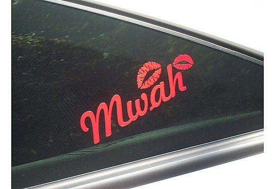 Storm Graphics 'Mwah' Red Lips Car Sticker