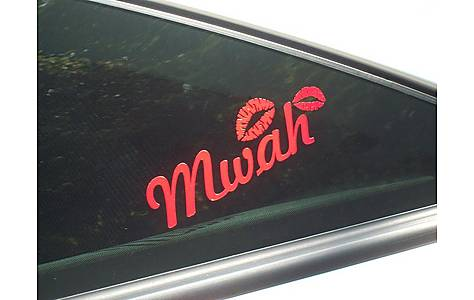 image of Storm Graphics Mwah Red Lips Car Sticker