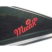 image of Storm Graphics 'Mwah' Red Lips Car Sticker