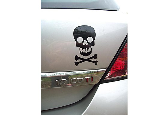 Storm Graphics Skull Car Sticker