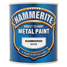 image of Hammerite Direct to Rust Metal Paint Hammered White 750ml