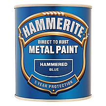 image of Hammerite Direct to Rust Metal Paint Hammered Blue 750ml
