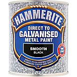 Hammerite Direct to Galvanised Metal Paint Smooth Black 750ml