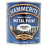 image of Hammerite Direct to Rust Metal Paint Smooth White 750ml