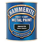 image of Hammerite Direct to Rust Metal Paint Smooth Dark Green 750ml