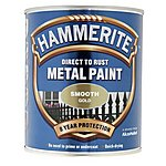 image of Hammerite Direct to Rust Metal Paint Smooth Gold 750ml