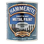 image of Hammerite Direct to Rust Metal Paint Hammered Silver 750ml