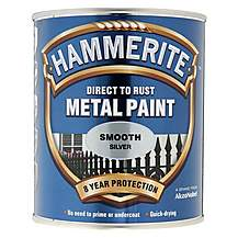 image of Hammerite Direct to Rust Metal Paint Smooth Silver 750ml