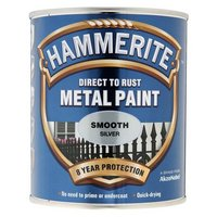 Hammerite Direct to Rust Metal Paint Smooth Silver 750ml