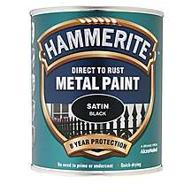 image of Hammerite Direct to Rust Metal Paint Satin Black 750ml