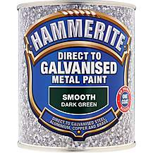 image of Hammerite Direct to Galvanised Metal Paint Dark Green 750ml