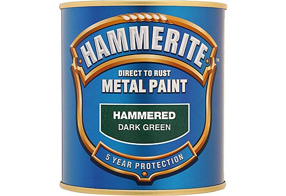 Hammerite Direct to Rust Metal Paint Hammered Dark Green 750ml