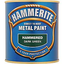 image of Hammerite Direct to Rust Metal Paint Hammered Dark Green 750ml