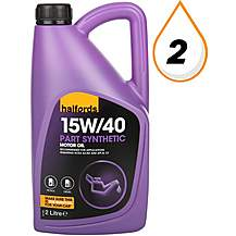 image of Halfords 15W40 Part Synthetic Engine Oil 2L