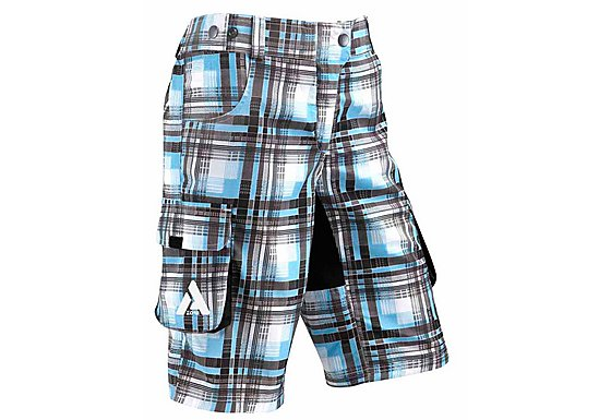Azore Womens Baggy Check Cycle Shorts 10-12 - Cyan/Black