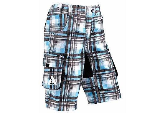 Azore Womens Baggy Check Cycle Shorts 10-12 - Cyan/Black