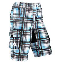 image of Azore Womens Baggy Check Cycle Shorts 10-12 - Cyan/Black