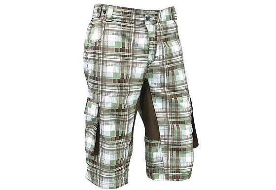 Azore Mens Baggy Check Cycle Shorts Medium - Green/Brown