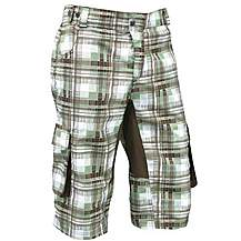 image of Azore Mens Baggy Check Cycle Shorts Large - Green/Brown