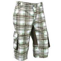 Azore Mens Baggy Check Cycle Shorts XLarge - Green/Brown