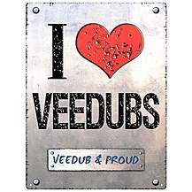 image of I Love Veedubs Metal Wall Sign